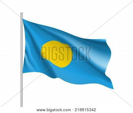 Waving flag of Republic Palau. Illustration of Oceania country flag on flagpole. Vector 3d icon isolated on white background