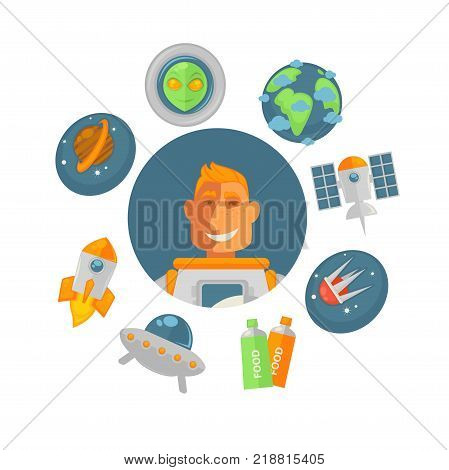 Spaceman in pressure suit surrounded with planets and spacecrafts. Saturn with belt, alien head, Earth planet, modern satellites, food in tubes, flying saucer and big spaceship vector illustrations.