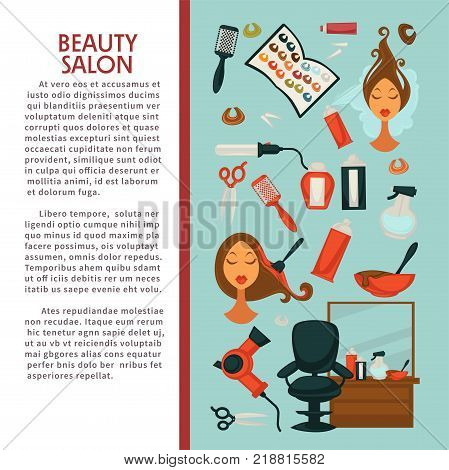 Woman hairdresser beauty salon poster flat design for hair coloring and styling. Vector icons of professional coiffeur color dye, hairbrush comb, colorant and color palette in hairdressing salon