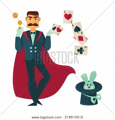 Magician with mustache in classic suit and long red cloak with cute small rabbit inside black tall hat, play cards and gold coins isolated cartoon flat vector illustration on white background.