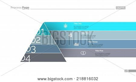 Pyramid chart slide template. Business data. Graph, diagram, design. Creative concept for infographic, report. Can be used for topics like marketing, development, elaboration