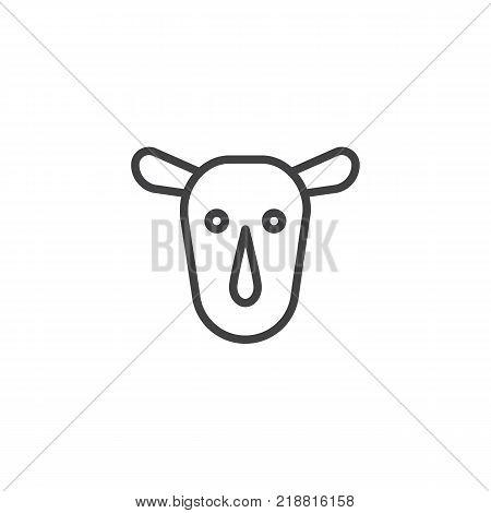 Rhinoceros head line icon, outline vector sign, linear style pictogram isolated on white. Rhino face symbol, logo illustration. Editable stroke