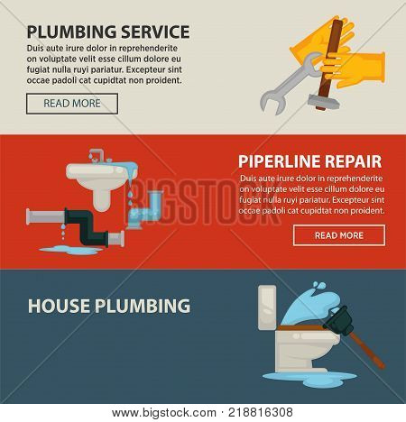 House plumbing service and pipeline repair promotional Internet pages templates with rubber gloves, metal tools, sink with leakage and broken toilet with plunger cartoon vector illustrations.