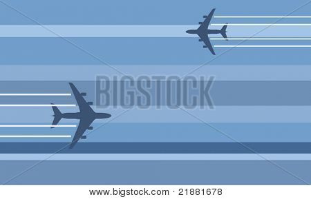 stylized flying aircraft travel illustration