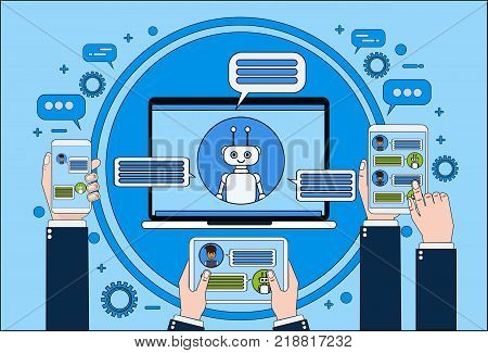 Chat Bot Concept Hand Holding Laptop, Tablet And Smart Phone Chatting With Chatter Online Support Service Technology Concept Vector Illustration