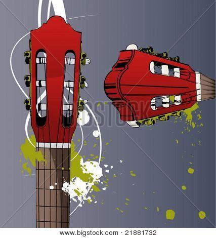 vector guitar neck, push-rod, string