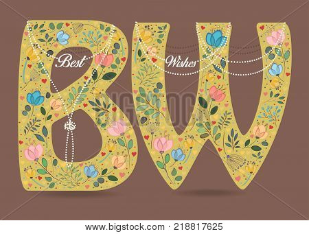 Best Wishes. Yellow letters with folk floral decor - B and W. White pearl collars and texts as pendats. Watercolor colorful flowers plants and hearts. Brown background. Vector Illustration