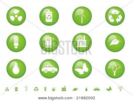 Environmental symbols on glossy buttons