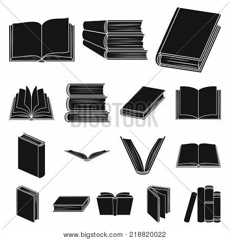 Book in the binding black icons in set collection for design. Printed products vector symbol stock  illustration.