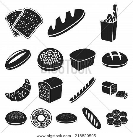 Types of bread black icons in set collection for design. Bakery products vector symbol stock  illustration.