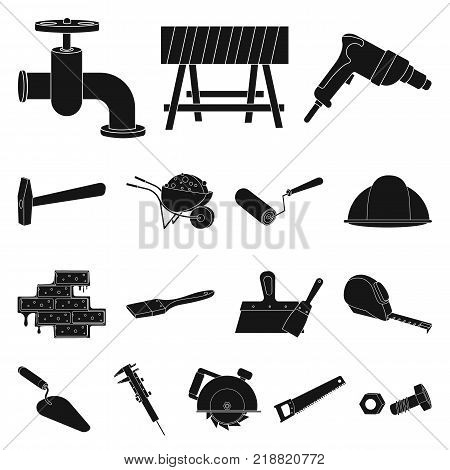 Building and architecture black icons in set collection for design. Construction and Institution vector symbol stock  illustration.