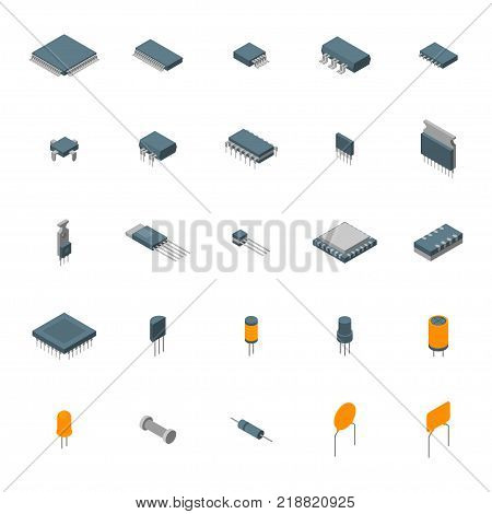 Microchip Computer Electronic Components Icons Set Isometric View Isolated on White Background Electronics Repair or Shop. Vector illustration