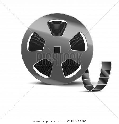 Realistic Detailed 3d Reel of Film Tape Movie Cinema Video Entertainment Element. Vector illustration of Cinematography Industry Equipment