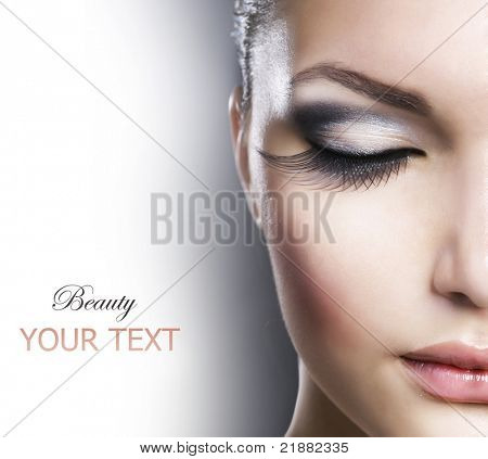 Beauty Face closeup.Makeup poster