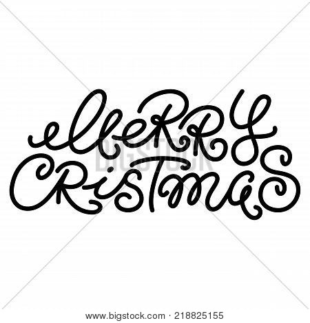 Merry Christmas text, hand written monoline type, typo, typographic element, lettering for greeting cards, banners, posters, isolated vector illustration on white background. Merry Christmas greeting