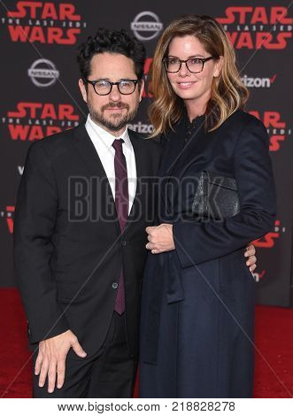 LOS ANGELES - DEC 09:  J.J. Abrams and Katie McGrath arrives for the 'Star Wars: The Last Jedi' World Premiere on December 09, 2017 in Los Angeles, CA