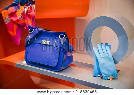 Milan, Italy - September 24, 2017:  Hermes Store In Milan. Fashion Week Hermes Shopping