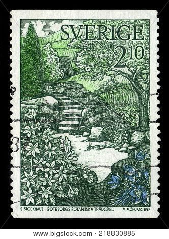 SWEDEN - CIRCA 1987: stamp printed in Sweden, shows mirror pond at the entrance of Gothenburg Botanical Garden, circa 1987