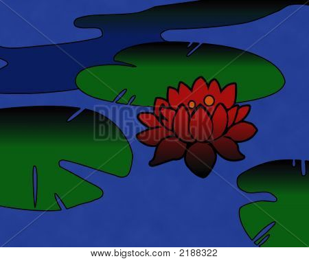 Floating Lily Pads And A Lotus Flower