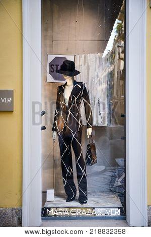 Milan, Italy - September 24, 2017:  Maria Grazia Severi Store In Milan. Fashion Week Maria Grazia Se