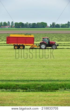 Tractor Pulling A Forage Wagon And Collecting Cutted Hay Silage Into A Self-loading Silage Wagon In