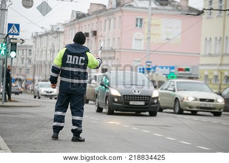 Gomel, Belarus - December 18, 2017: Officer Of The Road Patrol Service With A Baton..