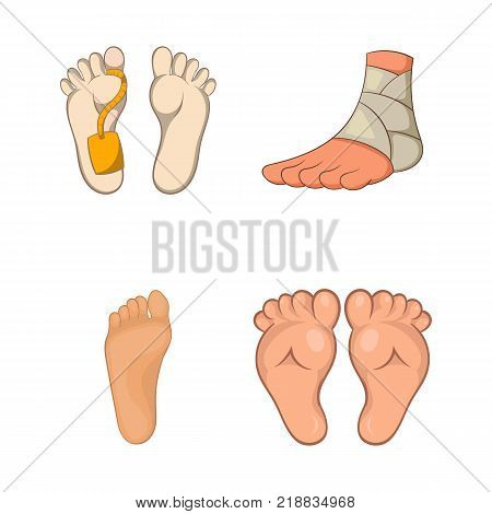 Foot icon set. Cartoon set of foot vector icons for web design isolated on white background