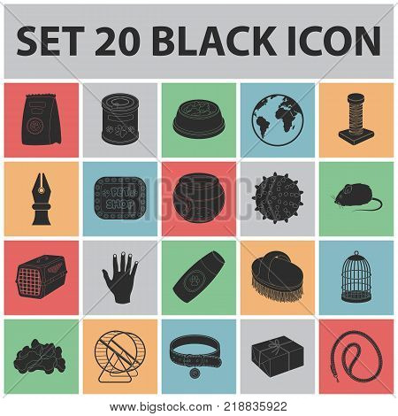 Pet shop black icons in set collection for design.The goods for animals vector symbol stock  illustration.