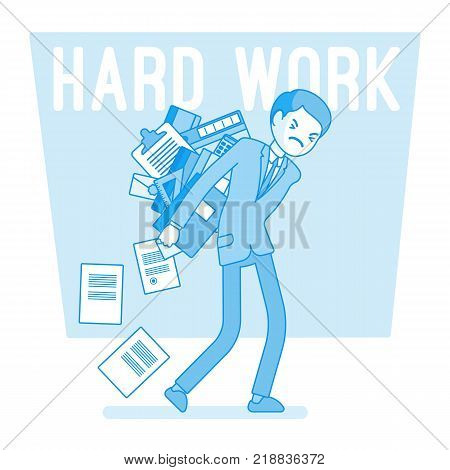 Hard work man. Young clerk weary or exhaust with paper documents, office worker with a load of files, employee in mess and distress. Vector business concept line art illustration