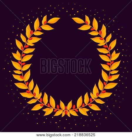 Gold laurel wreath. Vintage wreaths heraldic design elements with floral frames made up of laurel branches and sparkles on dark background. Symbol of winner or valor and mind. Vector illustration