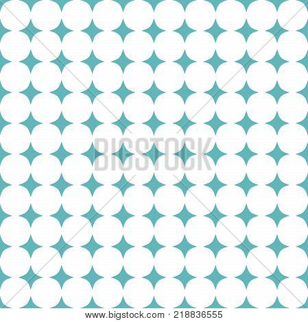 Seamless geometric vector pattern. Modern ornament with blue stars. Geometric abstract pattern