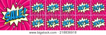 Big pink color sale set. Sale inscription and all percent numbers. pink and blue colors. Pop-art comics style web banners, flash animation, stickers, tags. Vector illustration