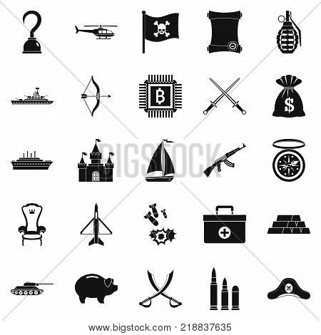Combat icons set. Simple set of 25 combat vector icons for web isolated on white background