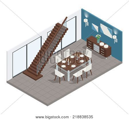 Dining room isometric concept with stairs  table and chairs vector illustration