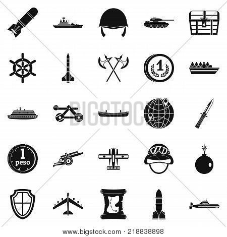 Combative icons set. Simple set of 25 combative vector icons for web isolated on white background