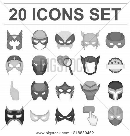 Carnival mask monochrome icons in set collection for design.Mask on the eyes and face vector symbol stock  illustration.