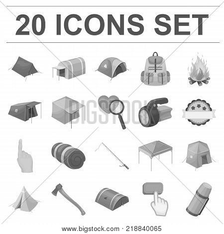 Different kinds of tents monochrome icons in set collection for design. Temporary shelter and housing vector symbol stock  illustration.