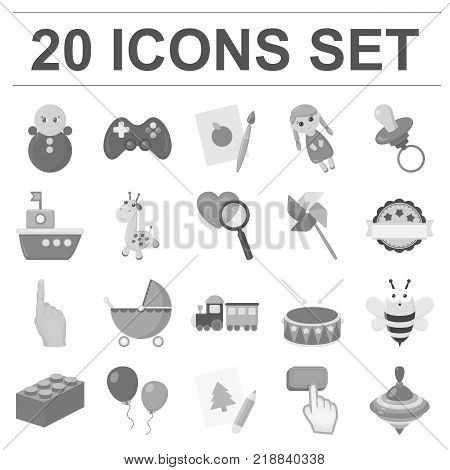 Children s toy monochrome icons in set collection for design. Game and bauble vector symbol stock illustration.