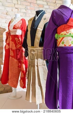 Traditional Japanese Samurai dress. Kimono costumes for man and woman on mannequins