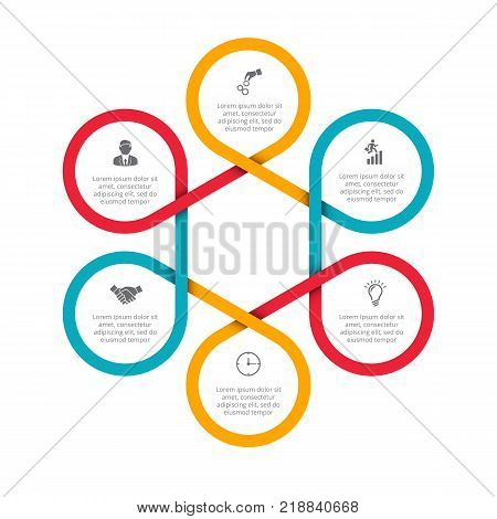 Business data visualization. Abstract felements of cycle diagram with 6 steps, options, parts or processes. Vector business template for presentation. Creative concept for infographic. Process chart.