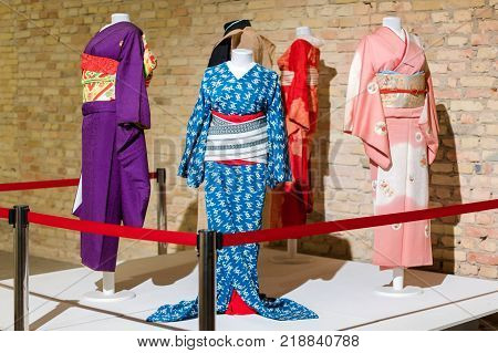 Kimono costumes for man and woman on mannequins. Traditional Japanese Samurai and Maiko dresses. Geisha clothing