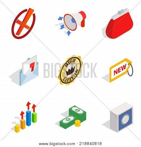 Business sphere icons set. Isometric set of 9 business sphere vector icons for web isolated on white background