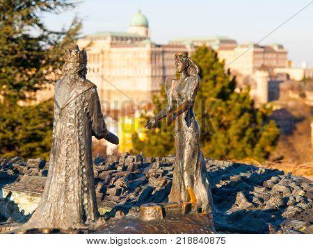 BUDAPEST, HUNGARY - DECEMBER 3, 2016: Bronze Statue of King Buda and Queen Pest on Gellert Hill, Budapest, Hungary