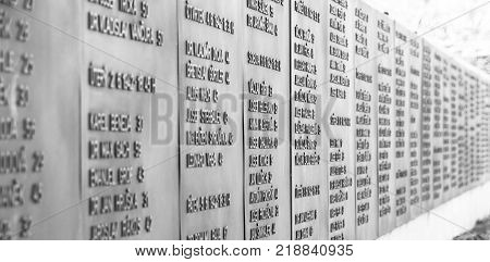 PRAGUE, CZECH REPUBLIC - DECEMBER 9, 2017: List of victims in former Kobylisy Shooting Range, Prague, Czech Republic. Place of mass executions during WWII by Nazis after the assassination of Reinhard Heydrich.