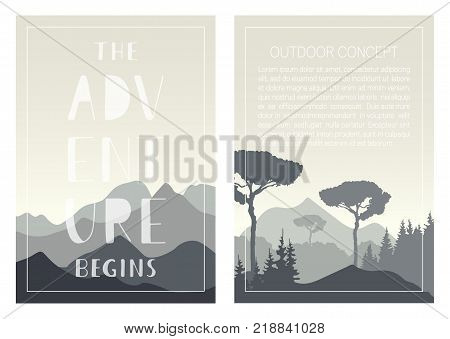 Set of nature landscape backgrounds with mountains, trees and handwritten phrase - The adventure begins. Vector templates for brochures, flyers, covers, posters, cards and invitations. Outdoor design.