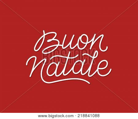 Buon Natale italian Merry Christmas calligraphic line art style lettering quote on red background. Gift card design with wishes for winter holiday. Vector modern typography
