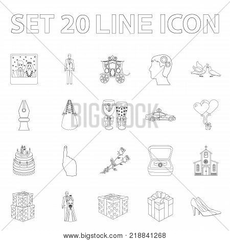 Wedding and Attributes outline icons in set collection for design. Newlyweds and Accessories vector symbol stock  illustration.