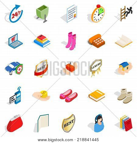 Commercial icons set. Isometric set of 25 commercial vector icons for web isolated on white background