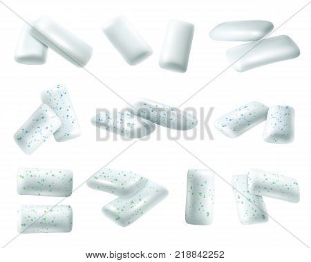 Set of realistic chewing gums in shape of pads with blue and green inclusions isolated vector illustration