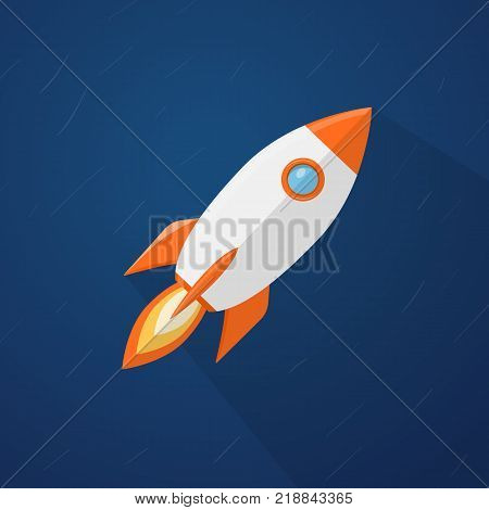 Rocketship flyi in the space with blurred stars background